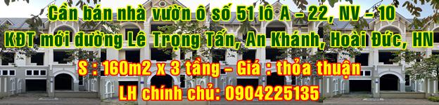 Cần bán nhà vườn Khu đô thị mới đường Lê Trọng Tấn, An Khánh, Hoài Đức