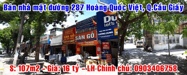 Bán nhà mặt đường 287 Hoàng Quốc Việt, Quận Cầu Giấy, Hà Nội