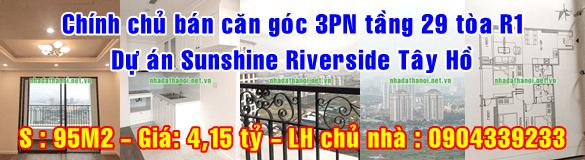 Chính chủ bán căn góc tầng 29 tòa R1 dự án Sunshine Riverside, Quận Tây Hồ