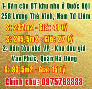 Bán 2 căn BTkhu nhà ở Quốc Hội số 258 Lương Thế Vinh, Q.Nam Từ Liêm, Hà Nội