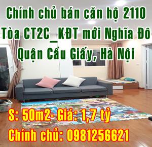 Bán căn hộ chung cư, tại phòng 2110-CT2C, khu đô thị mới Nghĩa Đô, Cầu Giấy, Hà Nội.