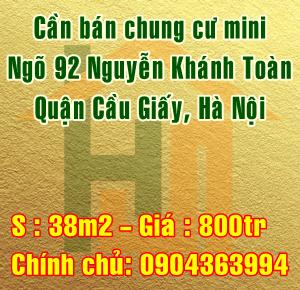 Cần bán chung cư mini, ngõ 92 Nguyễn Khánh Toàn, Quận Cầu Giấy, Hà Nội