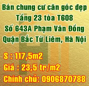 Bán chung cư căn góc đẹp, tầng 23 toà T608, 643A Phạm Văn Đồng, Bắc Từ Liêm