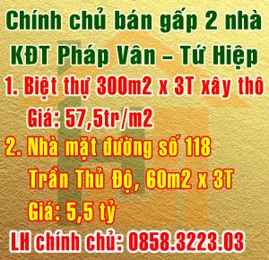 Chính chủ bán gấp 2 nhà mặt đường Trần Thủ Độ, KĐT Pháp Vân-Tứ Hiệp, Hoàng Mai