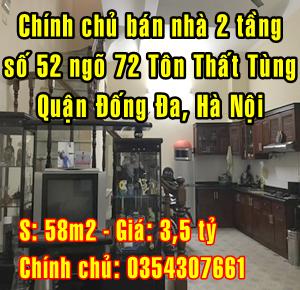 Bán nhà riêng 2 tầng Ngõ 72 Tôn Thất Tùng, Khương Thượng, Đống Đa, Hà Nội