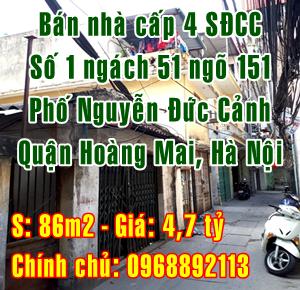Cần bán nhà số 1 ngách 51 ngõ 151 Nguyễn Đức Cảnh, Quận Hoàng Mai, Hà Nội