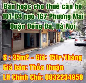 Bán hoặc cho thuê căn hộ tại 101 - D14 ngõ 167, phố Phương Mai, Đống Đa