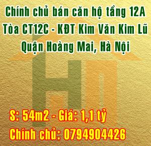 Bán căn hộ tầng 12A, tòa CT12C, KĐT Kim Văn Kim Lũ, Hoàng Mai, Hà Nội