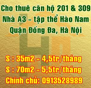 Cho thuê căn hộ nhà A3 tập thể Hào Nam, Quận Đống Đa, Hà Nội