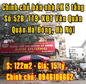 Bán nhà liền kề tại số 52B-TT9-khu đô thị Văn Quán, Hà Đông, Hà Nội