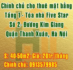 Cho thuê mặt bằng tầng 1, tại Five Star, đường Kim Giang, Thanh Xuân, Hà Nội.