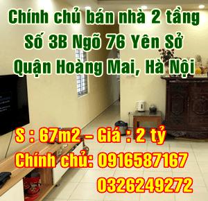 Cần bán nhà số 3B ngõ 76 Yên Sở, Quận Hoàng Mai, Hà Nội