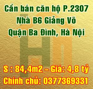 Cần bán căn hộ 2307 tầng 23 Nhà B6 Giảng võ, Quận Ba Đình, Hà Nội