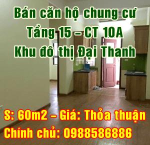 Chính chủ bán căn hộ tầng 15 tòa CT10A Đại Thanh, Thanh Trì, Hà Nội