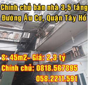 Chính chủ bán nhà 3,5 tầng trong ngõ đường Âu Cơ, Quận Tây Hồ, Hà Nội