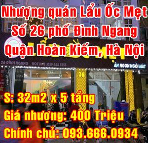 Cần nhượng quán Lẩu Ốc Mẹt số 26 Đình Ngang, Quận Hoàn Kiếm, Hà Nội