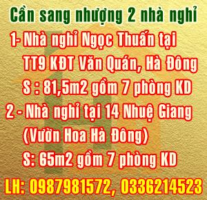 Sang nhượng nhà nghỉ Ngọc Thuấn tại TT9 - Văn Quán, Hà Đông, Hà Nội