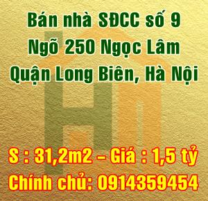 Cần bán nhà Quận Long Biên, số 9 ngõ 250 Ngọc Lâm