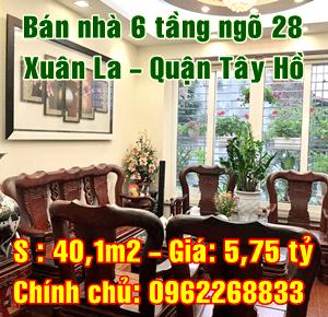Bán nhà Quận Tây Hồ, ngõ 28 Xuân La, phường Xuân La