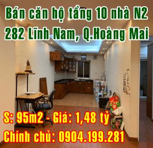 Chính chủ bán căn tầng 10 nhà N2 số 282 Lĩnh Nam, Quận Hoàng Mai, Hà Nội