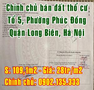 Chính chủ bán đất thổ cư tại tổ 5, Phúc Đồng, Quận Long Biên, Hà Nội