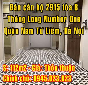 Bán căn hộ 2915 tòa B Thăng Long Number One, Quận Nam Từ Liêm, Hà Nội