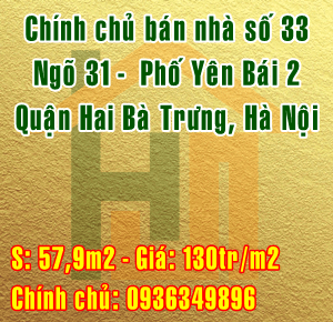 Chính chủ bán nhà Quận Hai Bà Trưng, số 33 ngõ 31 Yên Bái 2