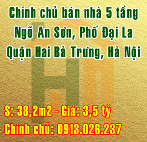 Bán nhà ngõ An Sơn, Phố Đại La, Quận Hai bà Trưng, Hà Nội