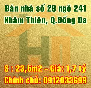 Bán nhà Quận Đống Đa, ngõ 241 phố Khâm Thiên