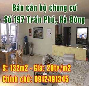 Bán căn hộ chung cư 197 Trần Phú, Hà Đông, Hà Nội