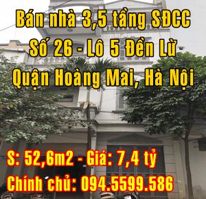 Bán nhà Quận Hoàng Mai, số 23 Lô 5 Đền Lừ, phường Hoàng Văn Thụ