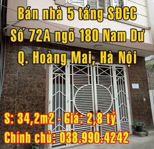 Bán nhà số 72A ngõ 180, phố Nam Dư, Quận Hoàng Mai