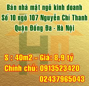 Bán nhà số 10 ngõ 107 Nguyễn Chí Thanh, Quận Đống Đa
