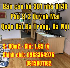 Bán căn 301 nhà D14B tập thể 8/3,Phố Quỳnh Mai, Q.Hai Bà Trưng, Hà Nội