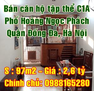 Bán căn hộ tập thể C1A, phố Hoàng Ngọc Phách, Quận Đống Đa