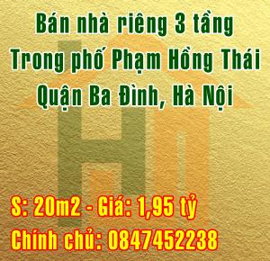 Bán nhà riêng trong phố Phạm Hồng Thái, phường Trúc Bạch, Quận Ba Đình