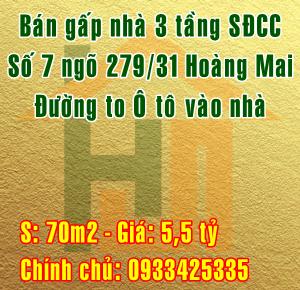 Bán nhà Quận Hoàng Mai, số 7 ngõ 279/31 đường Hoàng Mai