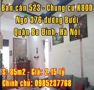 Bán căn hộ 523 chung cư K80D ngõ 376, đường Bưởi, Quận Ba Đình, Hà Nội