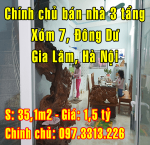 Chính chủ bán nhà Huyện Gia Lâm, Xóm 7 , Đông Dư