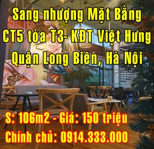 Sang nhượng mặt bằng CT15 Toà T3 KĐT Việt Hưng, Long Biên, Hà Nội