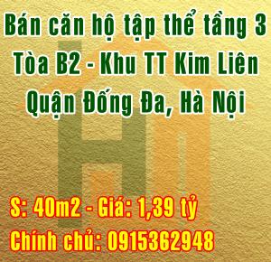 Bán căn hộ tập thể Kim Liên tầng 3 tòa B2 , Quận Đống Đa, Hà Nội