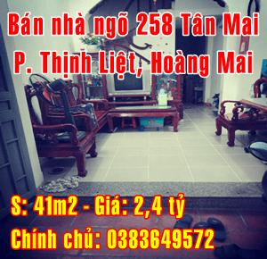 Bán nhà ngõ 258 phố Tân Mai, Phường Thịnh Liệt, Quận Hoàng Mai