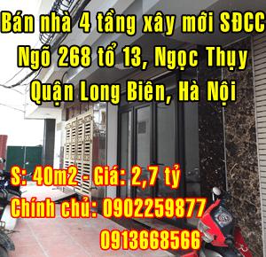 Bán nhà xây mới tại Quận Long Biên, Ngõ 268 Ngọc Thụy
