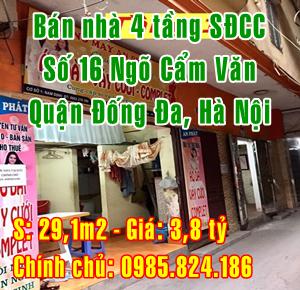 Bán nhà Quận Đống Đa, Số 16 ngõ Cẩm Văn, Phố Tôn Đức Thắng