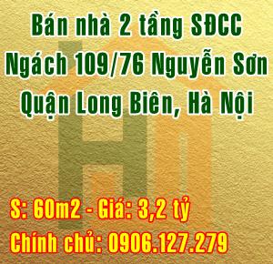 Bán nhà Quận Long Biên,  số 4 ngách 109/76 Nguyễn Sơn