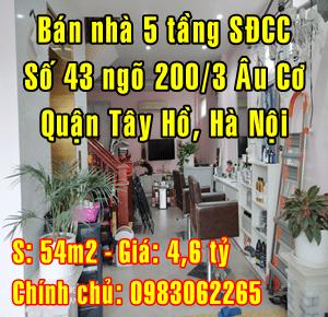 Chính chủ bán nhà riêng Quận Tây Hồ, Số 43 ngõ 200/3 Âu Cơ