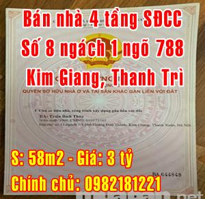 Bán nhà riêng tại Huyện Thanh Trì, Số 8 ngách 1 ngõ 788 Kim Giang
