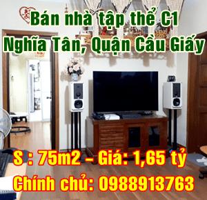 Bán nhà tập thể C1, Nghĩa Tân, Cầu Giấy Hà Nội