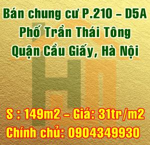Bán chung cư P.210 - D5A Trần Thái Tông, Quận Cầu Giấy, Hà Nội