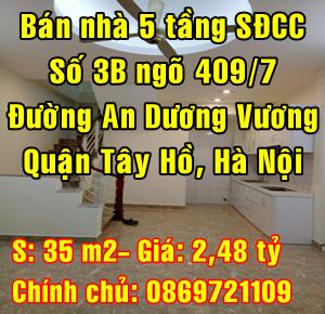 Bán nhà Quận Tây Hồ, Số 3B ngõ 409/7 đường An Dương Vương